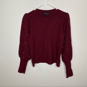 Mustard Seed burgundy long sleeve pearl sweater